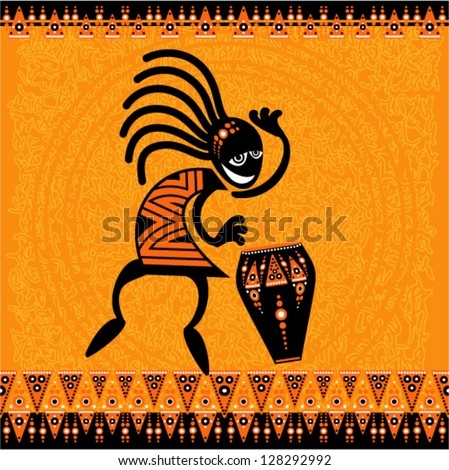Vector tribal art - Dancing figure with drum