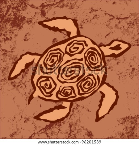 Vector tribal art - illustration of a turtle on a rock