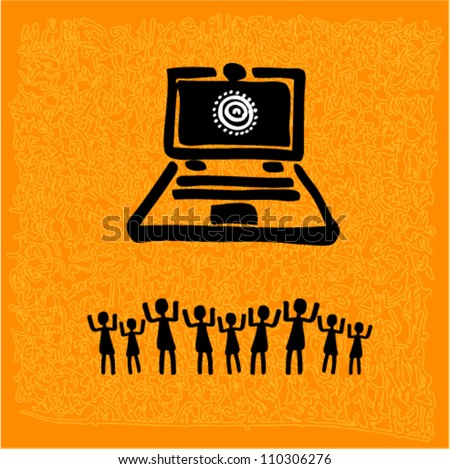 Vector tribal art - laptop with peoples