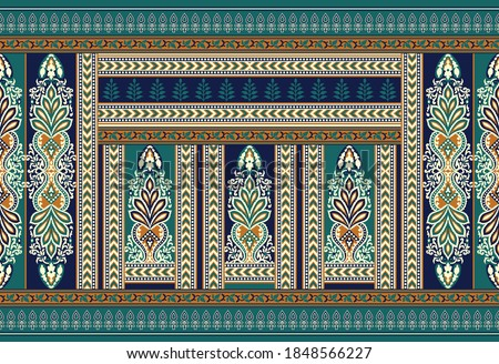 Vector tribal border with geometrical shapes
