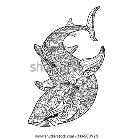 vector tribal decorative shark