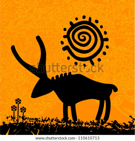 Vector tribal grunge art - bull under the sun with flowers
