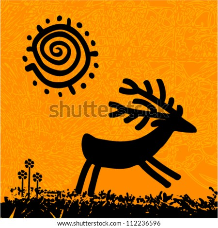Vector tribal grunge art - deer under the sun with flowers