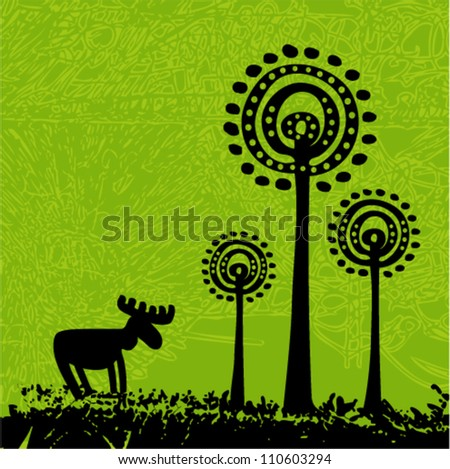 Vector tribal grunge art - moose and trees