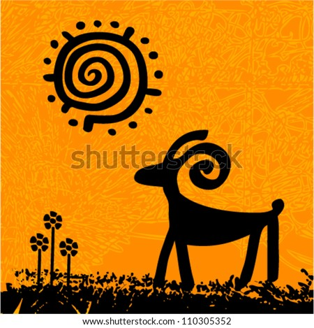 Vector tribal grunge art - ram under the sun with flowers