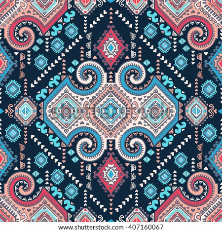 Vector Tribal Mexican vintage ethnic seamless pattern