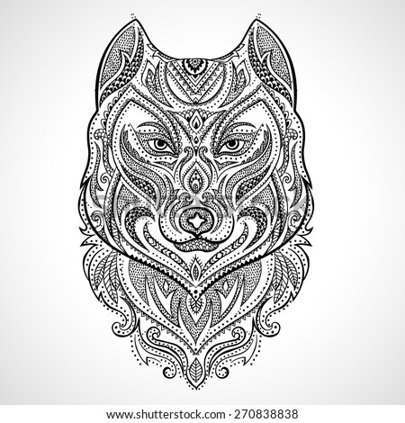 vector tribal style wolf totem