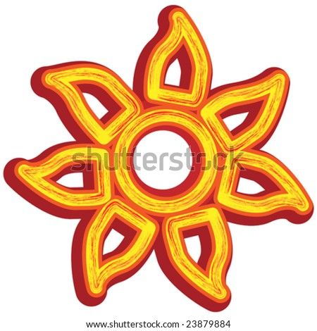 Vector tribal sun totem icon isolated on white. - stock vector