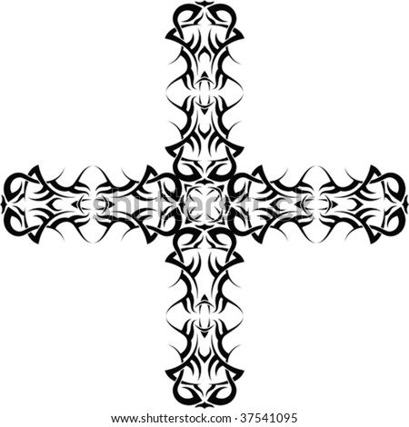 tattoo crosses. Vector Tribal tattoo cross