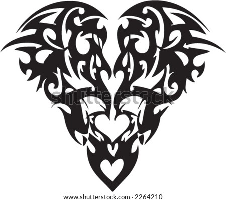 tribal heart tattoos. Tribal Tattoo of a Heart