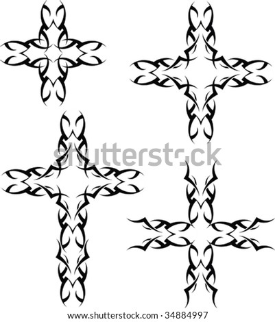 stock vector : Vector Tribal tattoo set Cross