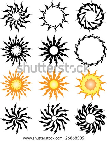 tribal sun tattoo designs. stock vector : Vector Tribal