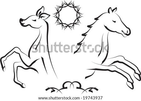 stock vector : Vector Tribal tattoo set Horse, Dear, Sun Design
