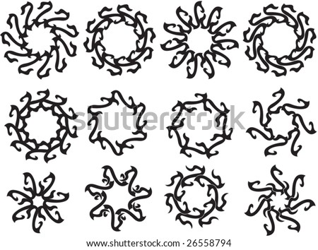 stock vector : Vector Tribal tattoo set Sun, Flame Designs
