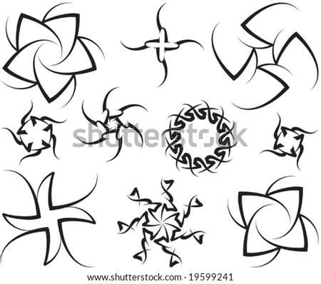 tribal and flower design tattoos. stock vector : Vector Tribal tattoo set Sun, Flower (Various Design