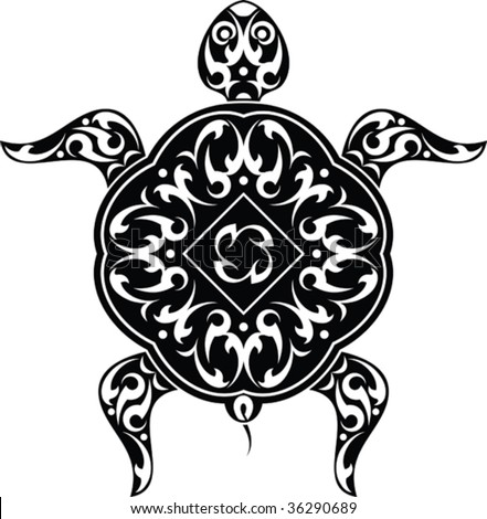 stock vector : Vector Tribal tattoo Turtle