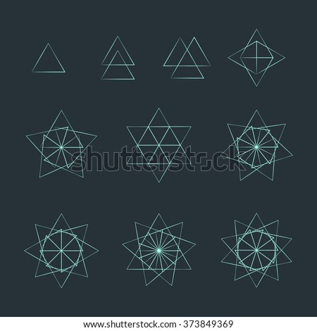 vector trigon light outline monochrome variations delta sacred geometry decoration elements collection isolated dark background