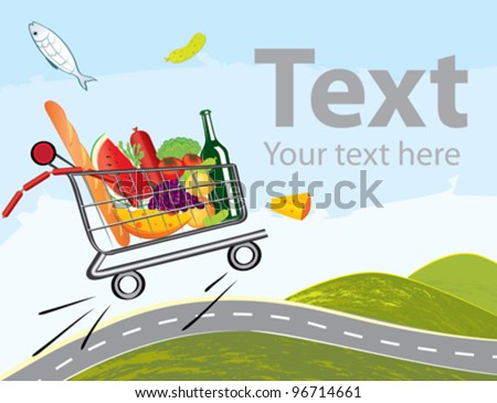 Vector trolley full of delicious food driving on the road - stock vector