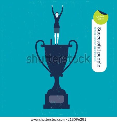 vector trophy successful woman