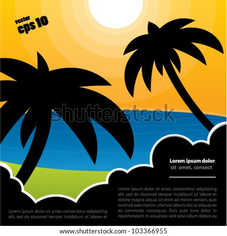 Vector tropical background with palm trees