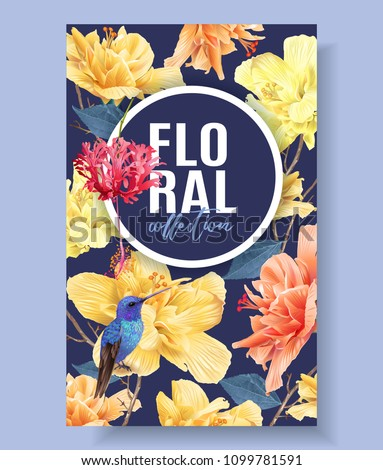 Vector tropical banner with bright flowers and hummingbird on dark blue. Exotic floral design for cosmetics, spa, perfume, health care products, wedding invitation. Best as summer background.