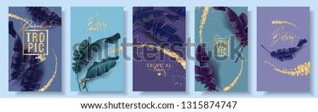 Vector tropical banners set. Purple and emerald banana leaves with gold splashes. Exotic botany design for cosmetics, spa, perfume, health care product, tourist agency. Best as summer party invitation