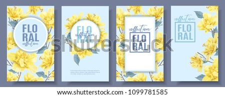 Vector tropical banners set with yellow hibiscus flowers on blue background. Exotic floral design for cosmetics, spa, perfume, health care products, wedding invitation, summer background.