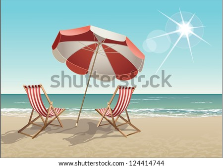 Vector tropical beach with chairs and parasol