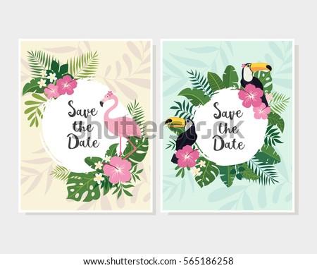 vector tropical cards set cute
