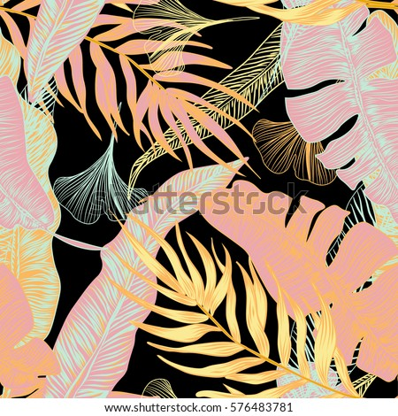 Vector,  tropical, exotic, trendy, stylish, spring, pattern of exotic, tropical plants, and shades of green. applicable in advertising prints, printing.