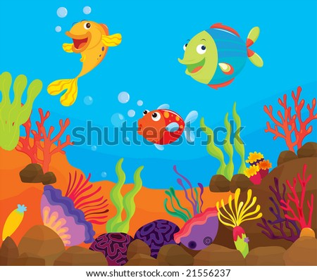 vector tropical fish on a reef