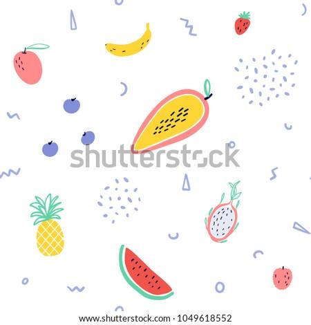 Stock Photo Vector tropical fruit background with pineapple, mango, watermelon, dragon fruit, Pitaya, banana, papaya. Summer exotic fruit seamless pattern with memphis style elements