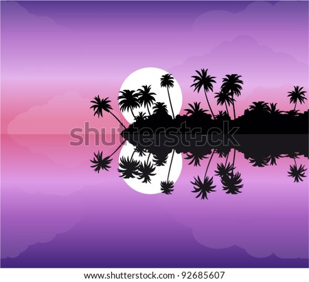 vector tropical island at sunset