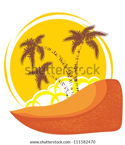 Vector tropical island background with yellow sun