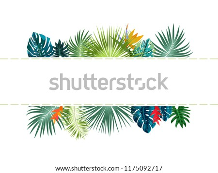 Vector tropical jungle frame with palm trees and leaves on white background for wedding,quotes, Birthday and invitation cards,greeting cards, print, blogs, bridal cards.