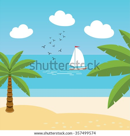 vector tropical landscape sea