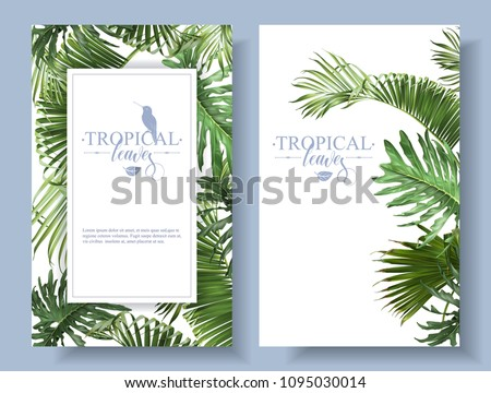 Vector tropical leaves banners on white background. Exotic botanical design for cosmetics, spa, perfume, health care products, aroma, wedding invitation. With place for text