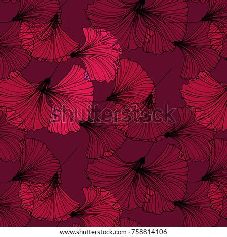 vector tropical leaves on red