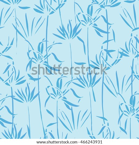 vector tropical leaves pattern palm watercolor seamless background
