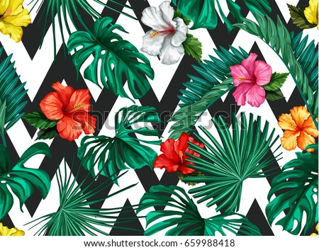 Vector Tropical palm leaves with hibiscus flowers, blossoms seamless pattern.  Jungle  ornamental background. Florals for your poster, banner flayer, advertisement design. Striped simple background