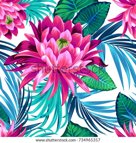 vector tropical pattern with waterlily, lotus flower. Amazing floral allover pattern, with large beautiful vintage flower.