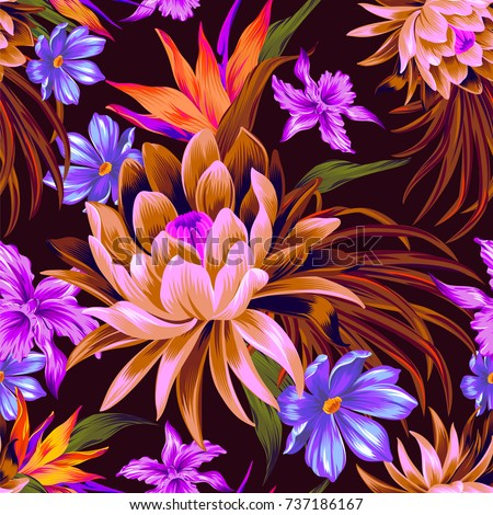 vector tropical pattern with waterlily, lotus flower. Amazing floral allover pattern, with large beautiful vintage flower. Orchids, bird of paradise, palm leaves, classic botanical illustrations.