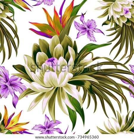 vector tropical pattern with waterlily, lotus flower. Amazing floral allover, with large beautiful vintage flower. Orchids, bird of paradise, palm leaves, classic botanical illustrations.