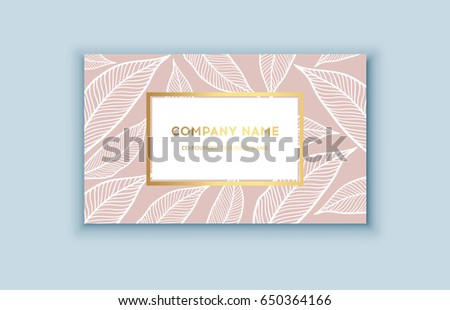 vector tropical pink and gold business card exotic design for cosmetics spa perfume