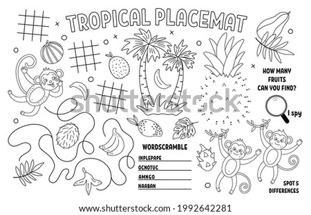 Vector tropical placemat for kids. Exotic summer printable activity mat with difference searching, dot-to-dot, maze. Black and white play mat or coloring page with cute jungle animals, monkey, banana Stock photo ©