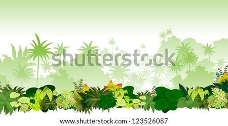 Vector Tropical Rainforest Jungle
