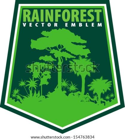 Vector Tropical Rainforest Jungle Emblem on Shield