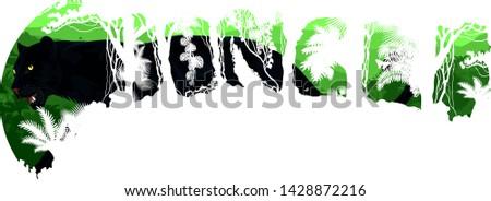 Vector tropical rainforest Jungle forest illustration with black panther leopard or jaguar