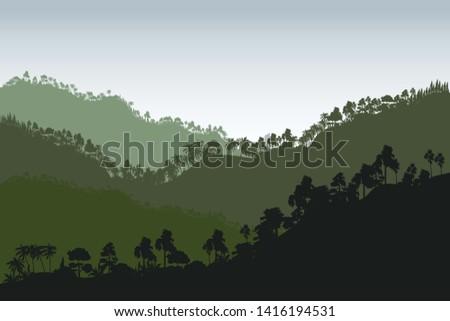 Vector Tropical Rainforest Jungle Mountains - Vector - Vector