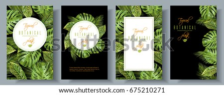 Vector tropical vertical banners set with monstera and croton leaves on black. Exotic design for cosmetics, health care products. Can be used as wedding or summer background. Best for spa packaging